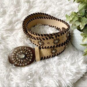 Streets Ahead Jeweled Leather Medallion Belt